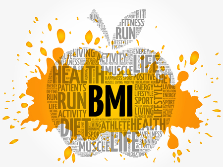 BMI - Body Mass Index, apple word cloud collage, health concept background Illustration