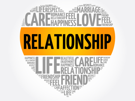 Relationship word cloud collage, heart concept background 向量圖像