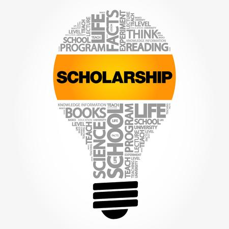 Scholarship bulb word cloud, education concept background