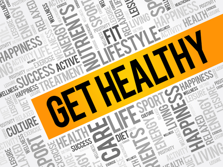 Get Healthy word cloud collage, health concept background 일러스트
