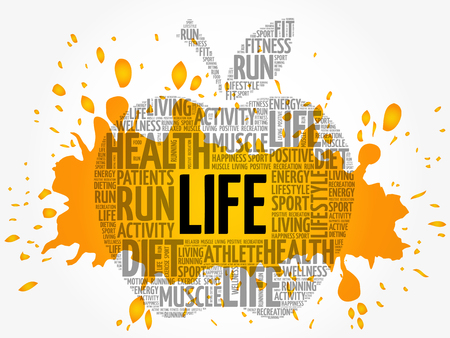 LIFE apple word cloud collage, health concept background