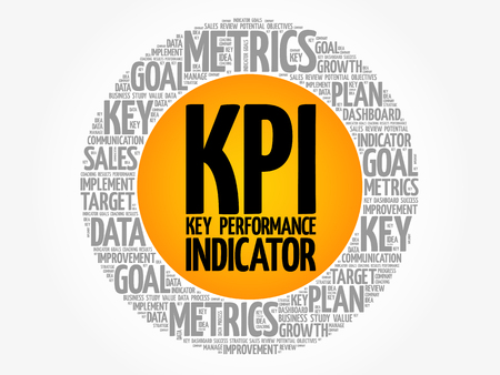KPI - Key Performance Indicator circle word cloud, business concept background Ilustração