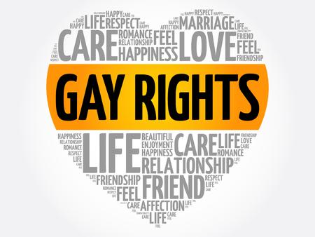 Derechos gay palabra nube collage, fondo del concepto de corazón Ilustración de vector