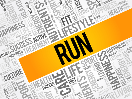 RUN word cloud, fitness, sport, health concept background 일러스트