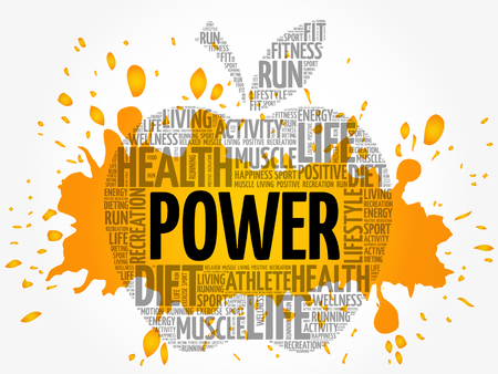 Power apple word cloud collage, health concept background