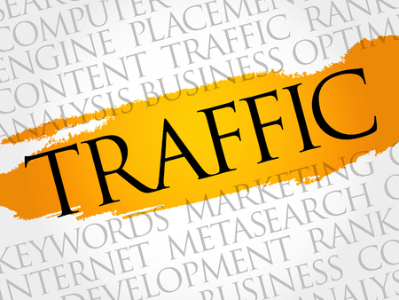 TRAFFIC word cloud collage, business concept background