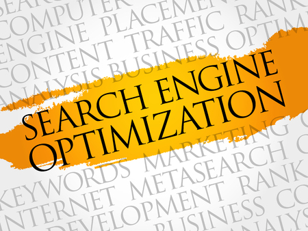 SEO (search engine optimization) word cloud collage, technology business concept background Vektorové ilustrace