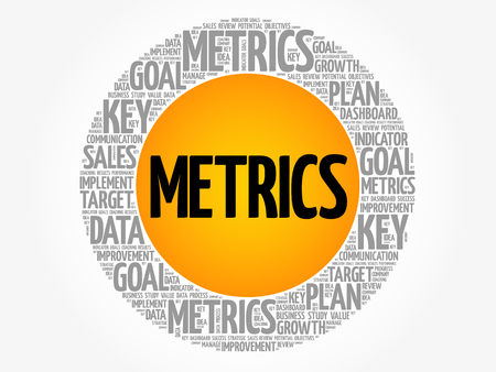 Metrics circle word cloud, business concept background