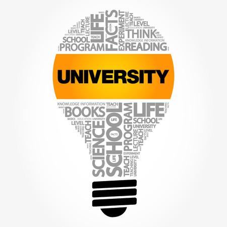 UNIVERSITY bulb word cloud collage, education concept background