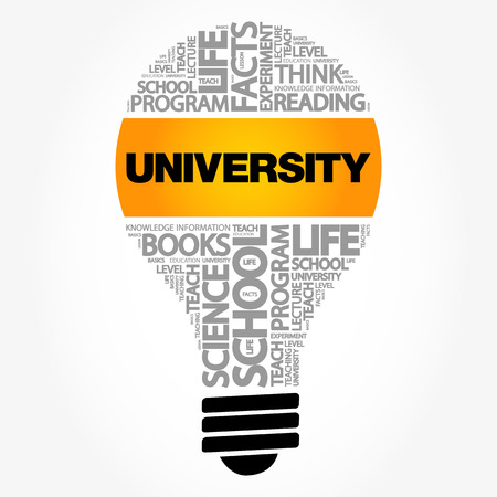 UNIVERSITY bulb word cloud collage, education concept background