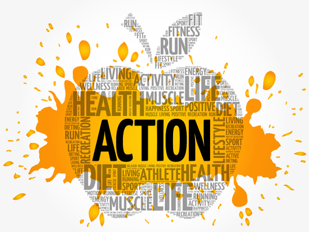 ACTION apple word cloud collage, health concept background