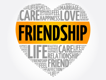 Friendship heart word cloud collage, concept background