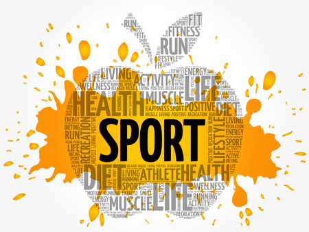 SPORT apple word cloud collage, health concept background