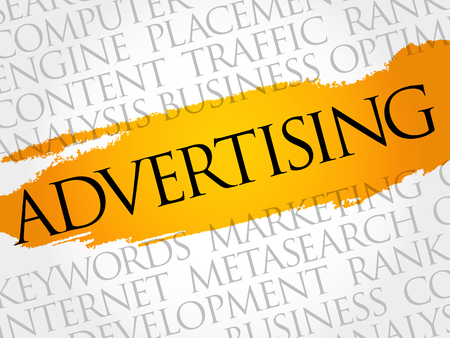 ADVERTISING word cloud, creative business concept background Ilustración de vector