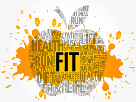 FIT apple word cloud collage, health concept background