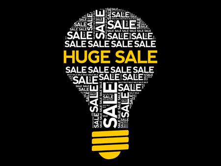 HUGE SALE bulb word cloud collage, business concept background Illustration
