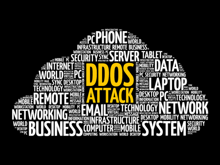 DDOS Attack word cloud collage, internet concept background