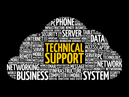 Technical support word cloud collage, technology concept background Illustration