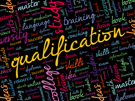 Qualification word cloud collage, education business concept background