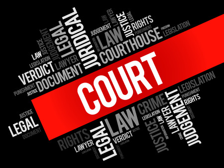 Court word cloud collage, law concept background 写真素材 - 117881606