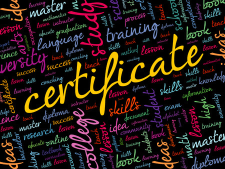 CERTIFICATE word cloud collage, education concept background
