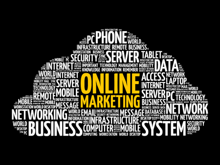 Online marketing word cloud collage, business concept background