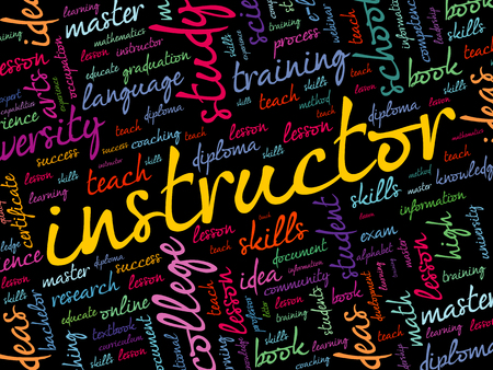 INSTRUCTOR word cloud collage, education concept background Ilustrace