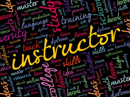 INSTRUCTOR word cloud collage, education concept background Reklamní fotografie - 124809163