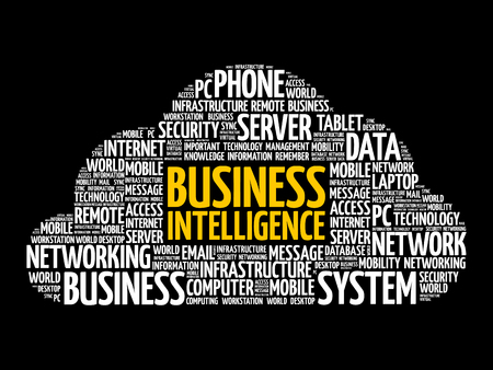 Business intelligence word cloud collage, business concept background Reklamní fotografie - 124809164