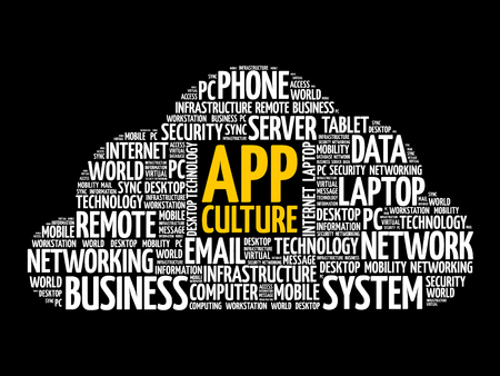 App Culture word cloud collage, technology concept background