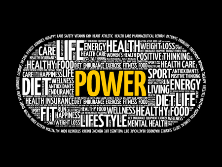 POWER word cloud collage, fitness, health concept background