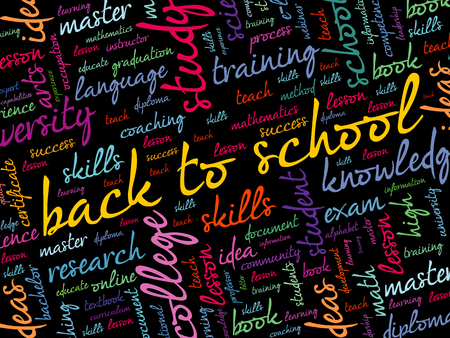Back to School word cloud collage, education concept background Ilustrace