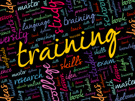 TRAINING word cloud collage, education concept background Ilustrace