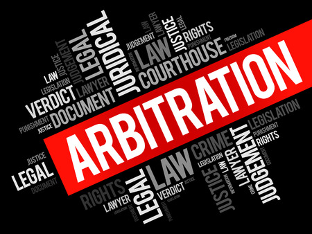 Arbitration word cloud collage, law concept background Illustration