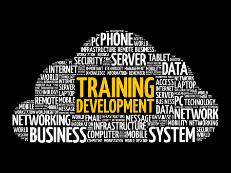 Training development word cloud collage, technology concept background