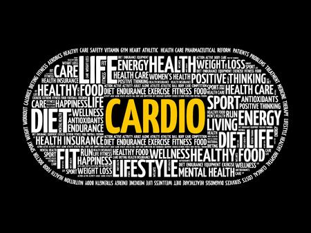 CARDIO-Wortwolkencollage, Fitness, Gesundheitskonzept Vektorgrafik