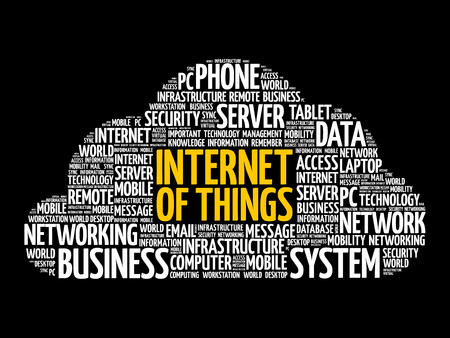 Internet of Things (IOT) word cloud collage, technology concept background