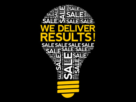 We deliver results ! bulb word cloud, business concept background Stock Vector - 124809187