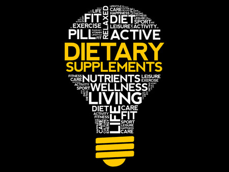 Dietary Supplements bulb word cloud, health concept background