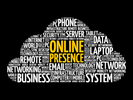 Online Presence word cloud collage, internet concept background