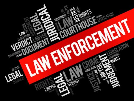 Law enforcement word cloud collage, social concept background