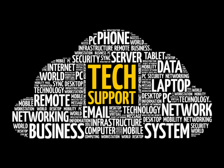 Technical support word cloud collage, technology concept background Illusztráció