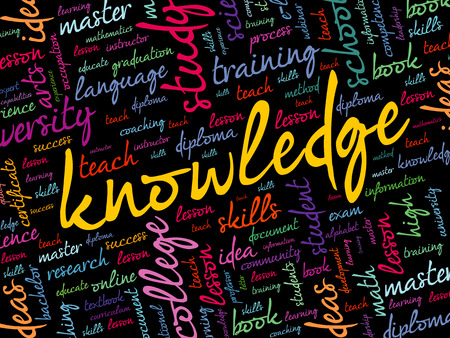 KNOWLEDGE word cloud collage, education concept background Ilustrace