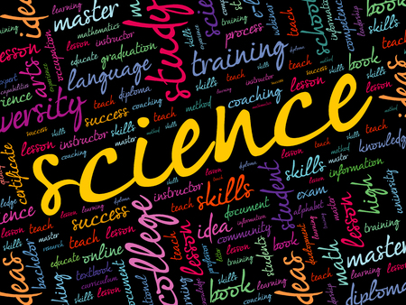 SCIENCE word cloud collage, education concept background Çizim