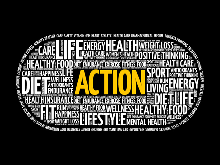 ACTION word cloud collage, fitness, health concept background Illustration