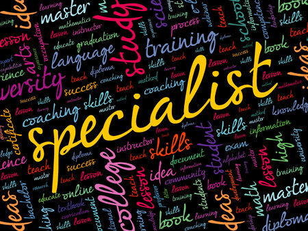 SPECIALIST word cloud collage, education concept background Reklamní fotografie - 124809209