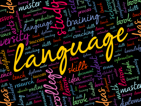LANGUAGE word cloud collage, education business concept Çizim