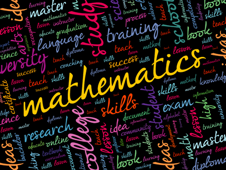 Mathematics word cloud collage, education concept background Иллюстрация