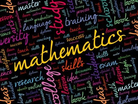 Mathematics word cloud collage, education concept background Ilustração