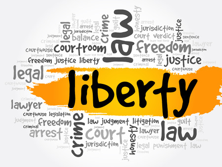 Liberty word cloud collage, law concept background